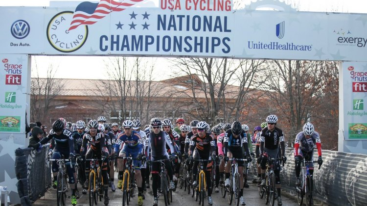 The start of the Masters Men 40-44, 2013 Cyclocross Nationals. © Meg McMahon