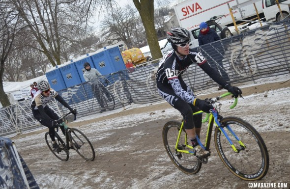 Casey Hildebrandt (Ripon) and Robert Rimmer (Virginia Intermont) battle for the early lead before rimmer escaped. © Cyclocross Magazine