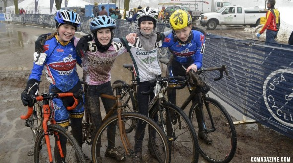 Tough, all-out racing turns to smiles after the Junior Women 13-14 race. ©Cyclocross Magazine