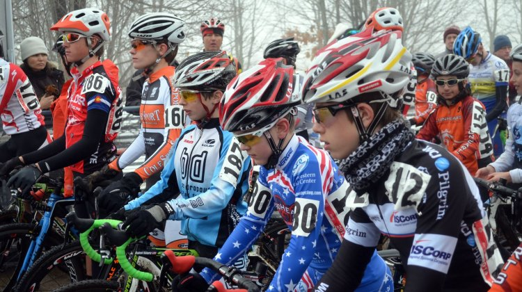 The Junior 13-14 Men about to start. 2013 Cyclocross National Championships. © Cyclocross Magazine