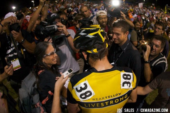 Lance Armstrong craves the attention whether racing or confessing to using drugs on Oprah Winfrey. © Joe Sales / Cyclocross Magazine