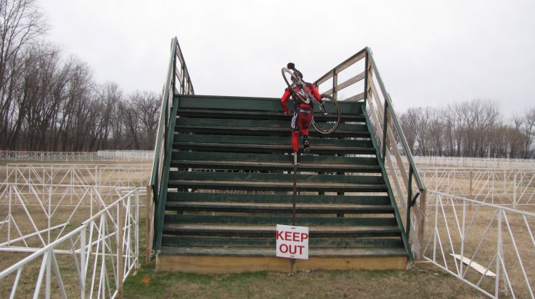 """One rider braves the """"Keep Out"""" sign on the Worlds course. © Steven Wilkes"""