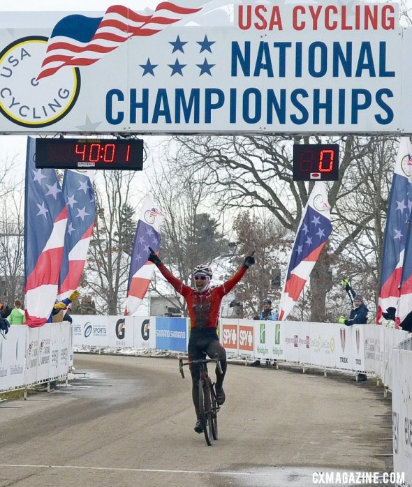 Bob Downs (Planet Bike) takes the 55-59 win at 2013 Nationals. © Cyclocross Magazine