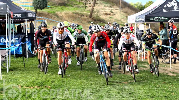 At the start of Men's A, Brent Prenzlow (Celo Pacific/Focus) leads the Gritters brothers (Rock n' Road) into turn one. © Phil Beckman/PB Creative