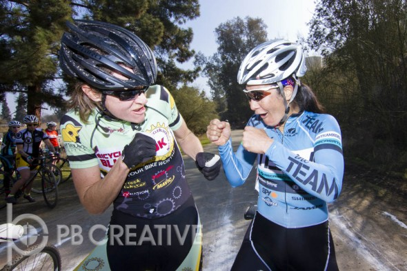"Nor Cal vs. So Cal! This is about as heated as the rivalry got as Elicia Hildebrand and Dorothy Wong ""square off"" in Elite Women's staging. © Phil Beckman/PB Creative"