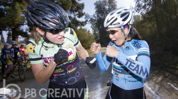"""Nor Cal vs. So Cal! This is about as heated as the rivalry got as Elicia Hildebrand and Dorothy Wong """"square off"""" in Elite Women's staging. © Phil Beckman/PB Creative"""
