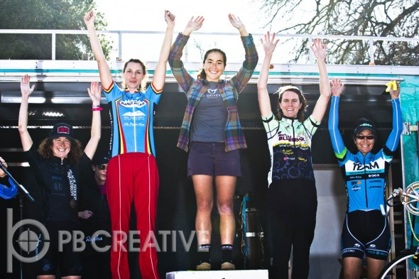 The Elite Women's podium (left to right): Robin Kaminsky (Black Sheep Squadron, 5th), Elicia Hildebrand (Team Rambuski Law, 2nd), Amanda Nauman (Felt, 1st), Katie Melena (Bicycle Bluebook/HRS/Rock Lobster, 3rd) and Dorothy Wong (The TEAM SoCalCross, 6th). © Phil Beckman/PB Creative