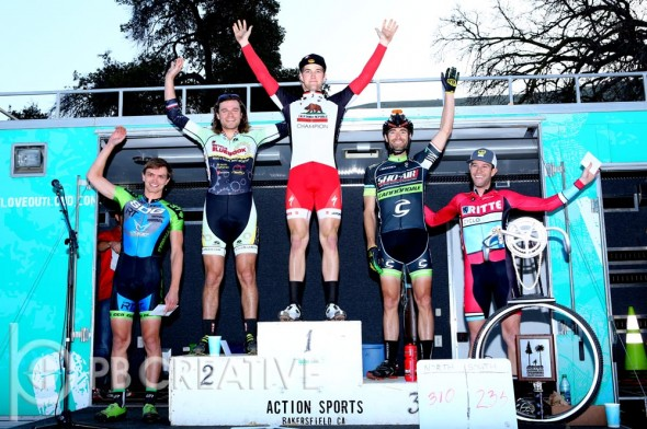 The Men's Elite podium (left to right): Anton Petrov (SDG/Felt/IRT, 4th), Aaron Bradford (Bicycle Bluebook/HRS/Rock Lobster, 2nd), Tobin Ortenblad (Cal Giant/Specialized, 1st), Eric Bostrom (Sho-Air/Cannondale, 3rd) and Gareth Feldstein (Ritte CX Team). © Phil Beckman/PB Creative