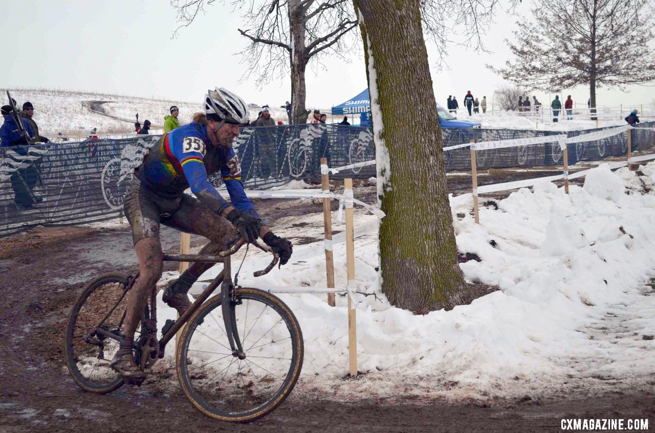 Steve Tilford slides, crashes and solos to another National Championship. ©Cyclocross Magazine