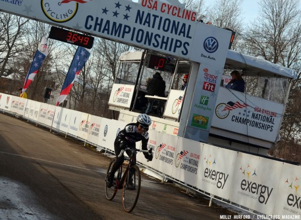Ostenso rides in for the 60+ win. © Cyclocross Magazine