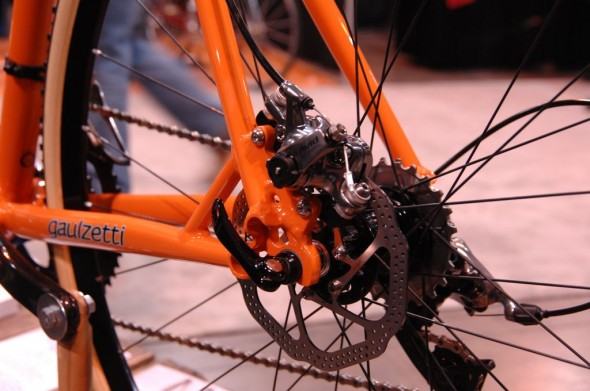 Disc brakes were the obvious choice this year for cyclocross bikes. SRAM's new Avid BB7 SL mechanical disc brake. NAHBS 2013 © Lance Barry