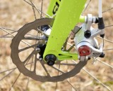 140mm solid rotors on Ryan Trebon's Cannondale SuperX High Mod Disc cyclocross bike. © Clifford Lee