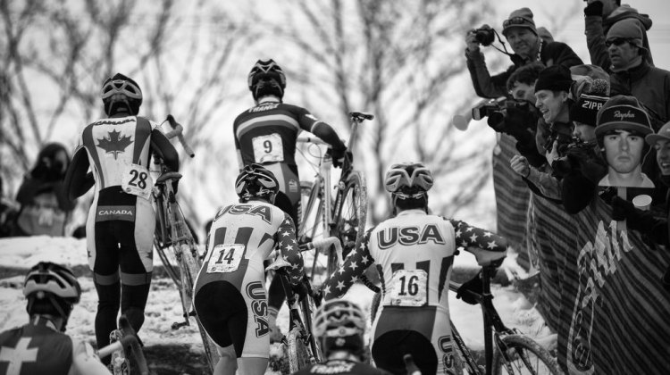 Hitting the run up in the Elite Junior World Championships of Cyclocross 2013 © Meg McMahon