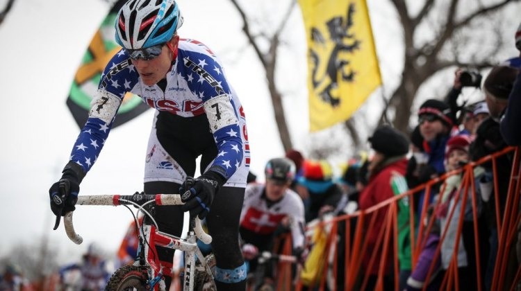 Katie Compton drops the hammer in the Elite Women World Championships of Cyclocross 2013 © Meg McMahon