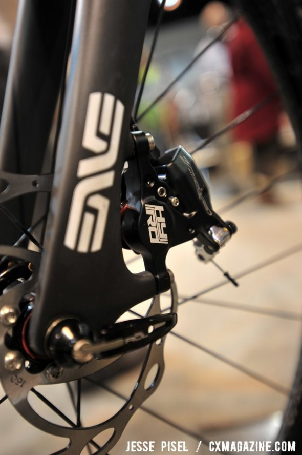 Debuting the new TRP dual hydraulic/mechanical disc brakes. © Jesse Pisel