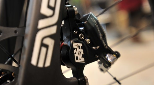 Debuting the new TRP duel hydraulic/mechanical disc brakes. © Jesse Pisel