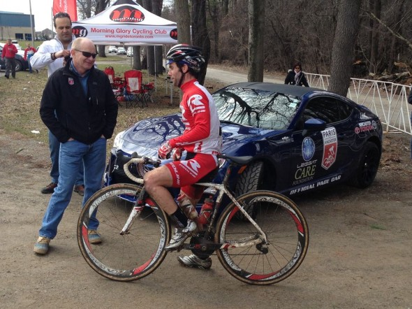 Race winner (right) Justin Lindine talking with P2A co-organizer Tim Farrar (left) after his first win.