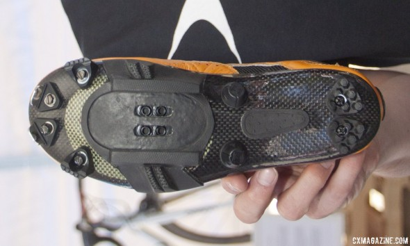 Lake Cycling's MX331 cyclocross shoe features eight different removable spike positions. . © Cyclocross Magazine