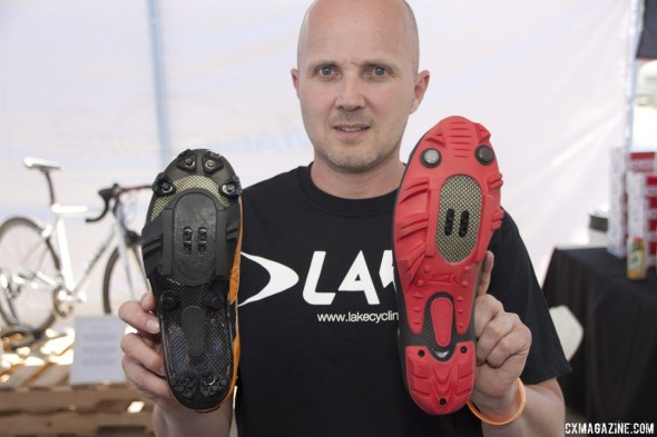 Lake Cycling's MX331 cyclocross shoe (left) and the mtb version (right). © Cyclocross Magazine
