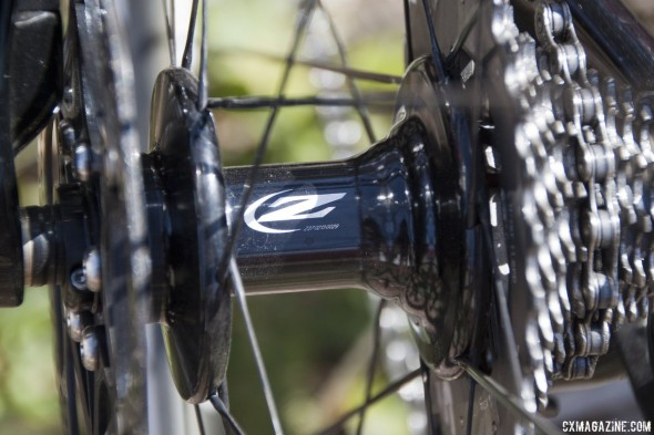 Zipp's new 188 disc brake hubs and 3-cross lacing on the new 303 Firecrest disc brake wheelset. © Cyclocross Magazine