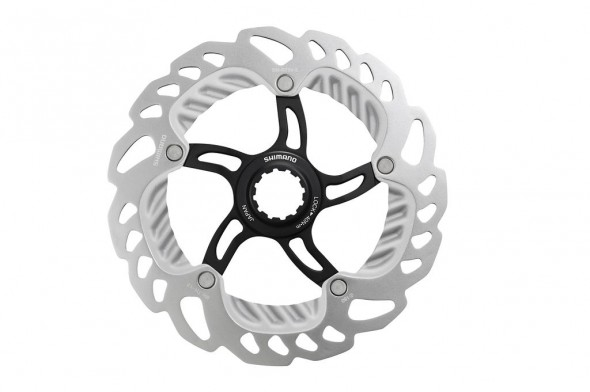 The new Shimano hydraulic disc brake rotor has aluminum in order to cool faster. Photo courtes of Shimano