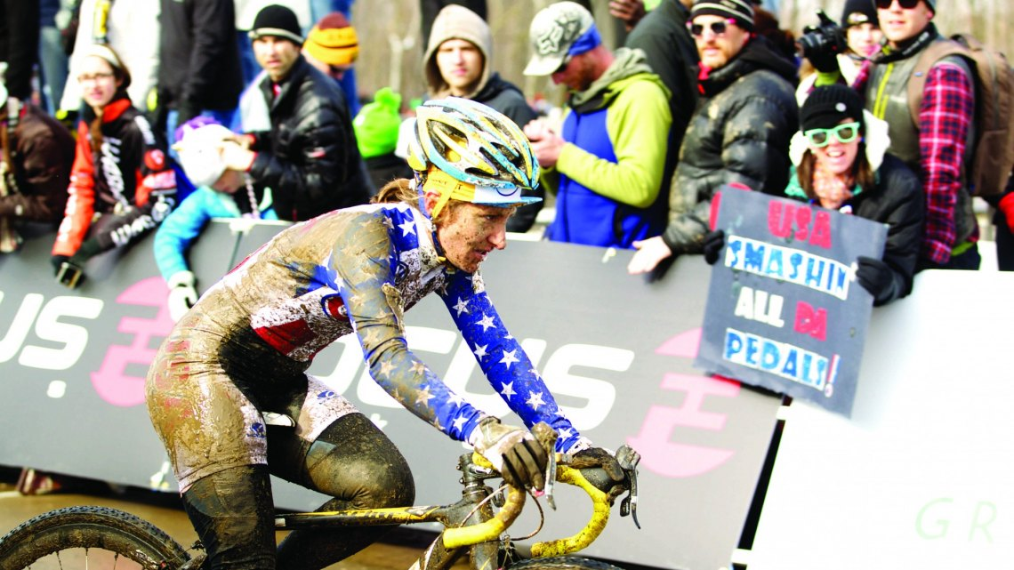 Amy Dombroski gets muddy in Kentucky at Worlds. © Cathy Fegan-Kim