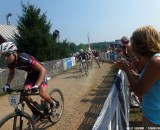 Skyler Trujillo snags the holeshot in the U23 race at MTB Nationals. © Cyclocross Magazine