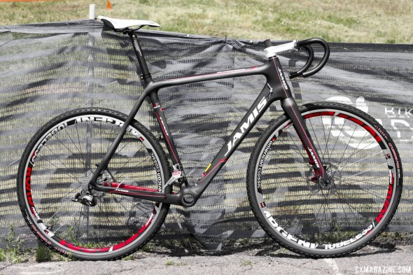 The Jamis Supernova Team carbon cyclocross bike returns in 2014 with SRAM Red 22 hydraulic brakes and American Classic Argent wheels. © Cyclocross Magazine