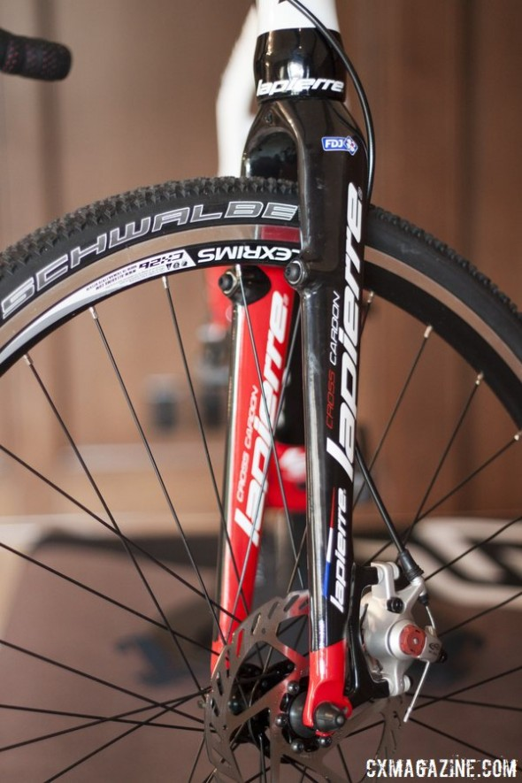 The LaPierre Cross Alloy has a fork that can accomodate disc and canti brakes. © Cyclocross Magazine