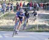 Page takes an early lead ahead of Berden, Krugoff. Elite Men, 2013 Raleigh Midsummer Night's race. © Cyclocross Magazine