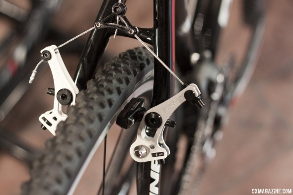 The semi-low profile TRP Revox cantilever brakes offer a good amount of adjustability with great stopping power and mud clearance.  © Cyclocross Magazine