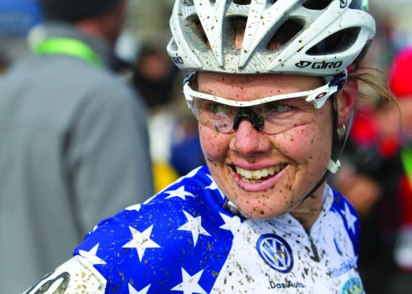 Georgia Gould smiles through anything: even after a first lap pile-up at Worlds. © Nathan Hofferber