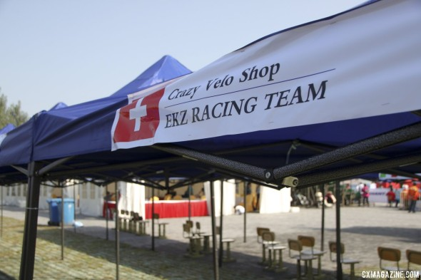Team tents were provided for every rider. Qiansen Trophy UCI C2 Cyclocross Event. © Cyclocross Magazine