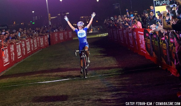 Katerina Nash had plenty of time to celebrate. © Cathy Fegan-Kim, Cyclocross Magazine