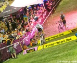Sven Nys hops while Trebon runs. Cross Vegas 2013. © Cathy Fega