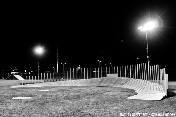 Deconstruction of the bermed turn, the newest addition to Cross Vegas 2013. © Nathan Hofferber / Cyclocross Magazine