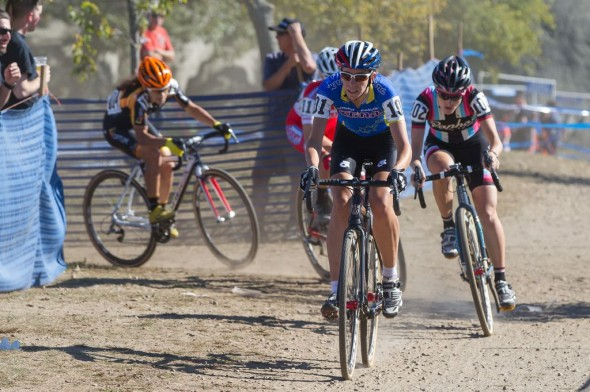 Gabby Durrin chased but a crash put her in second. © Todd Prekaski