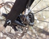 Shimano's new R785 hydraulic disc brake on a Felt F1X with 160mm rotors. Shimano recommends 140mm front and rear. © Cyclocross Magazine