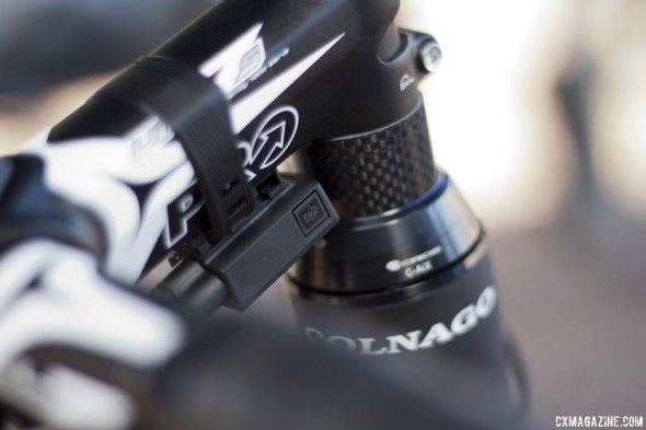 Shimano's new Ultegra 6870 Di2 offers a seatpost battery but junction box charging. © Cyclocross Magazine