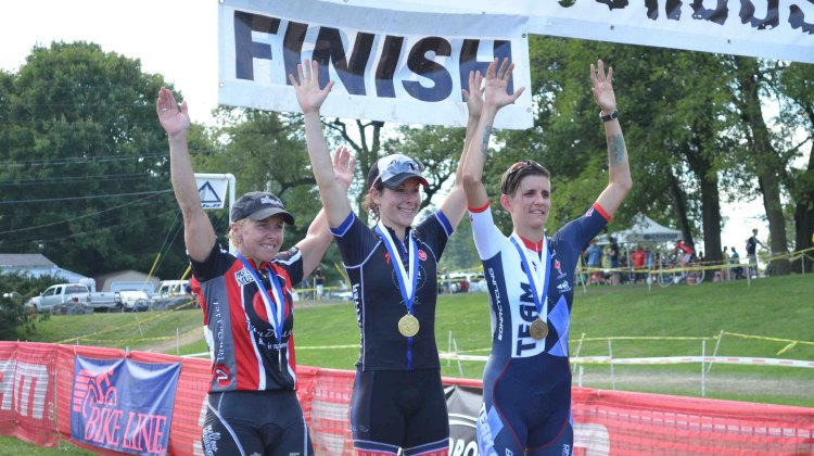 Van Gilder, Kemmerer, Thiemann (L to R) on the Nittany Podium Day 2. © Cyclocross Magazine