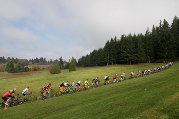 One of the Masters men's fields takes off on the Rainier course.