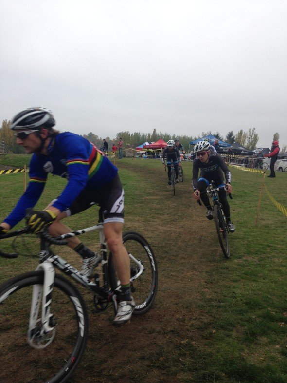 Russell Stevenson (Voler Custom CX), left, leads Steve Fisher (Raleigh - HIFI) in the men's elite race. © Robert Grunau