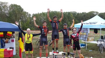Men's elite podium at Tacchino CX. © Neil Schirmer