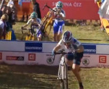 Katie Compton chased by Nikki Harris and Pavla Halikova at the 2013 Cyclocross World Cup in Tabor.