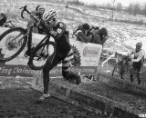 Russel Stevenson running to a 2013 Masters 35-39 Cyclocross National Championship win.© Cyclocross Magazine
