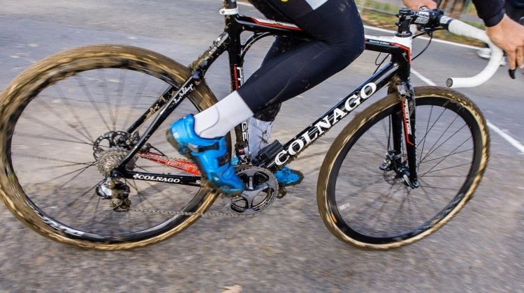 Niels Ablert with Shimano R785 hydraulic disc brakes at the 2013 Koppenbergcross. © Cyclocross Magazine
