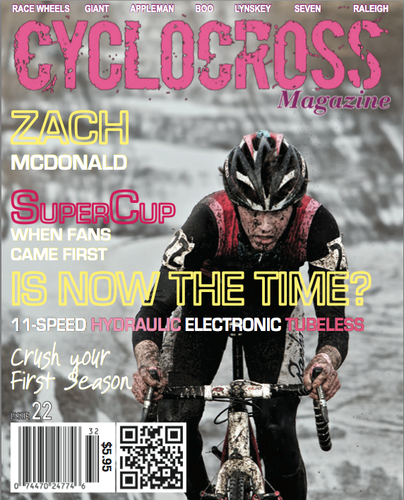Zach McDonald gracing the cover of Cyclocross Magazine's Issue 22