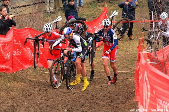 The men in the early pack on the last day of Jingle Cross Rock 2013. © Mike McColgan