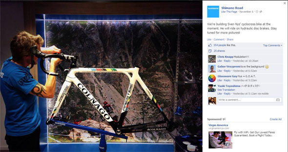Sven Nys' new Shimano R785 hydraulic disc brake Colnago Prestige cyclocross bike.