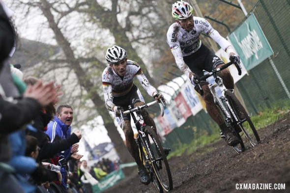 Sven Nys, right, and Philipp Walsleben battle at the Gavere Superprestige. © Bart Hazen / Cyclocross Magazine